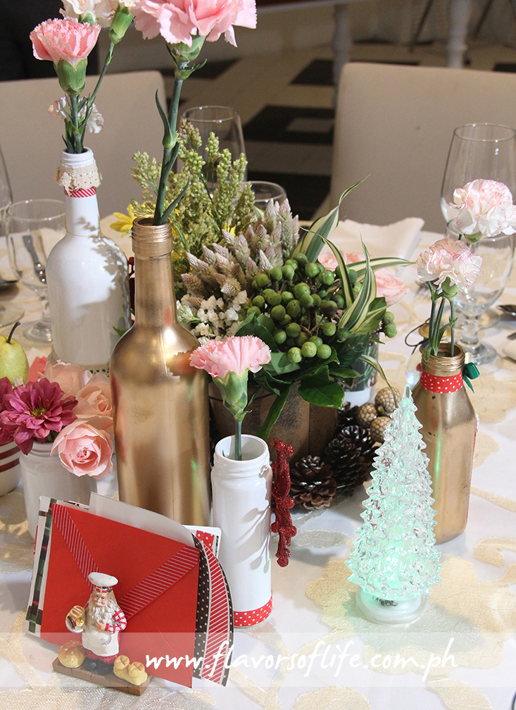 Festive table set-up for the Christmas Eve Dinner at Sisterfields