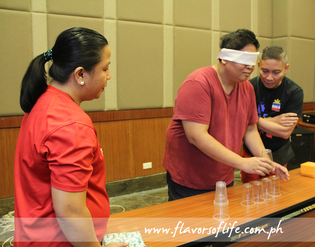 Play a game of blindfolded cupping with friends or family...