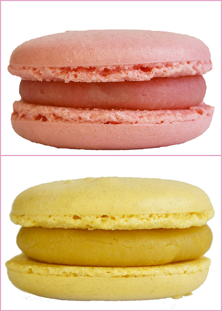 Ispahan (above) and Creme de Citron (below Macarons