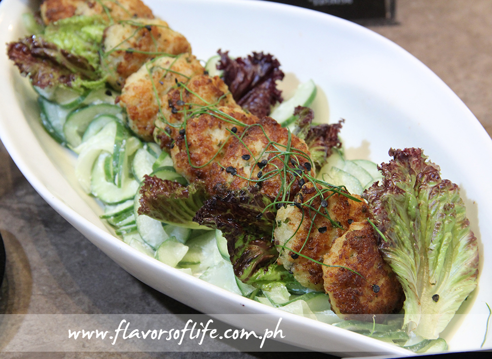 Cod Fish Cake and Cucumber Salad