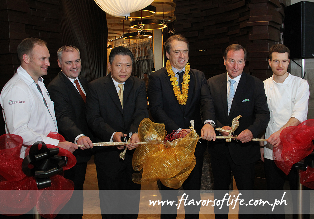 Cutting the ceremonial ribbon during the opening of 'A Fine German Feast' at Cucina, from left: German guest chef Christian Scheler; Marco Polo Ortigas' F&B director Mirko de Giorgi; Samuel Po, president, Frontier Ortigas Hotel & Resorts Corp.; German Ambassador Thomas Ossowski; and German guest chef Mario Paecke