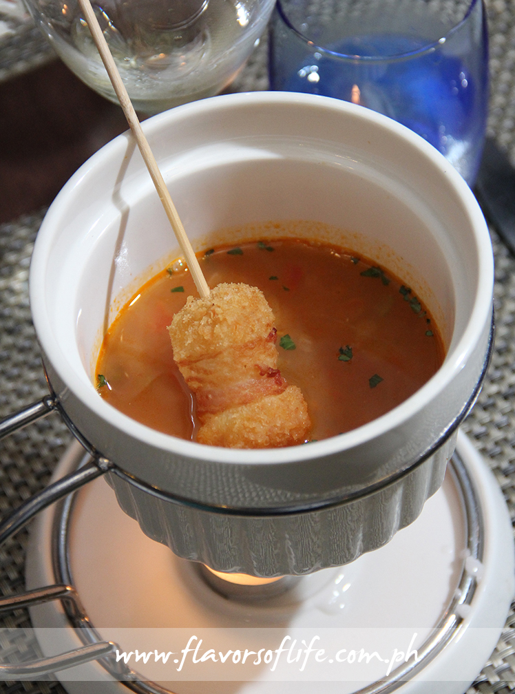 Manhattan Seafood Chowder with IQF Hash Brown Potato Croquette