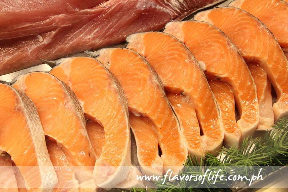Salmon steak slices available at the seafood section