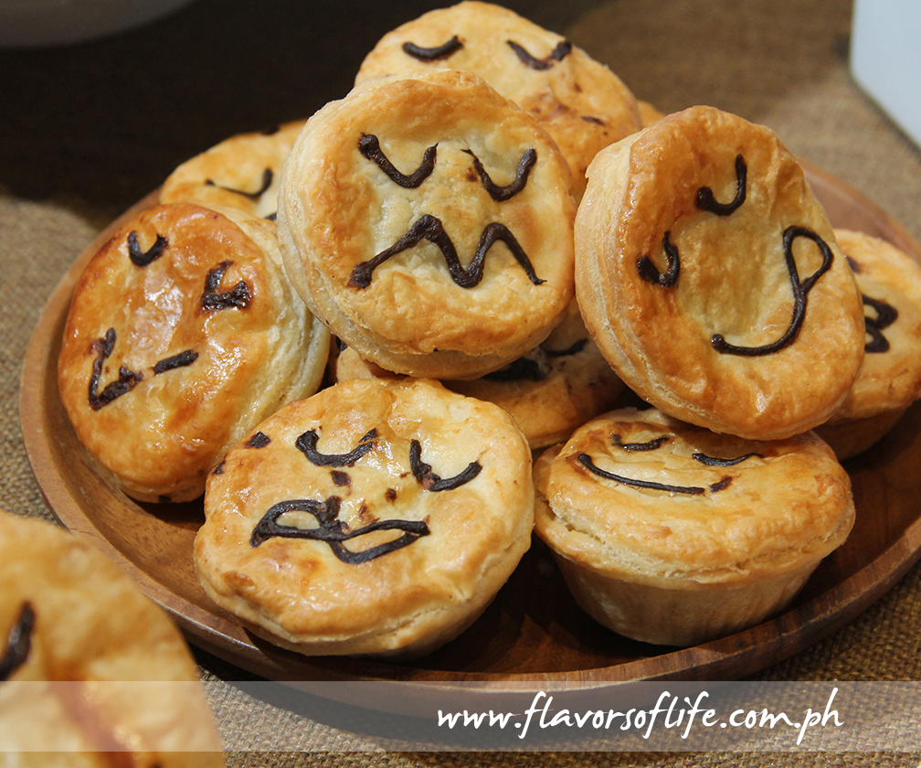 The smiley indicates the flavor of the pie at Pie Face
