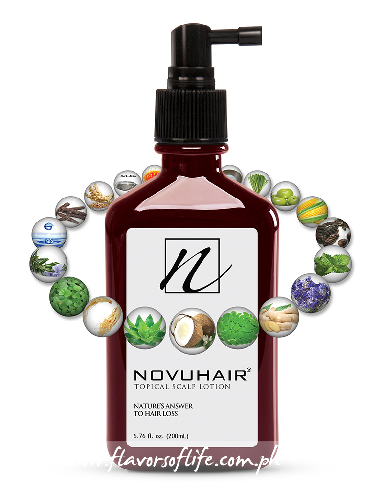 Novuhair topical scalp lotion's new enhanced formulation, which contains 19 natural ingredients, is now available in leading drug stores nationwide