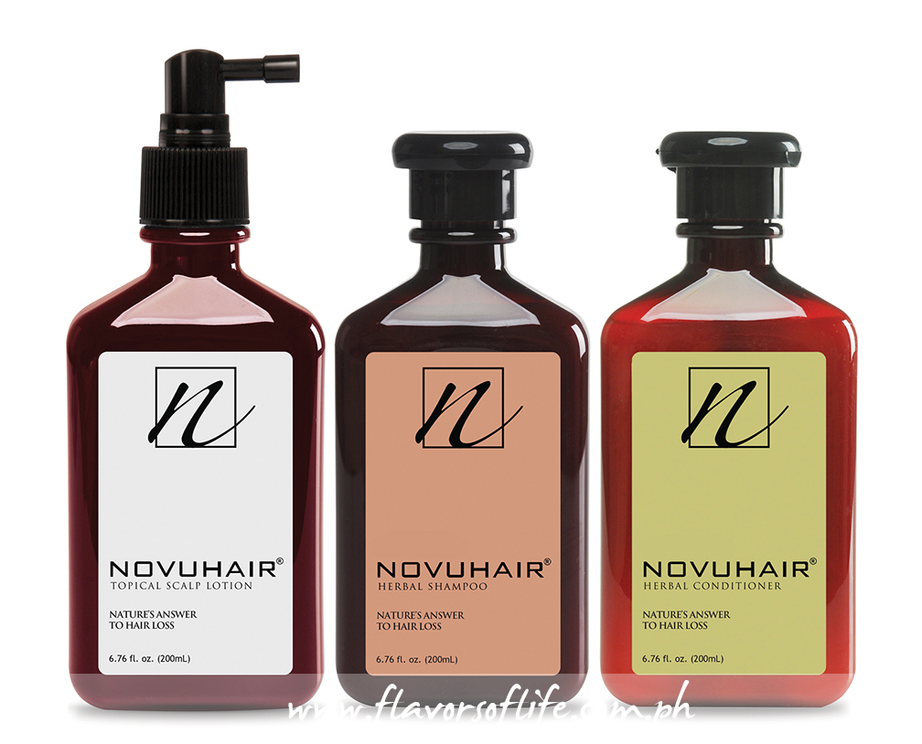 Power trio: Novuhair topical scalp lotion, Novuhair herbal shampoo, and Novuhair herbal conditioner