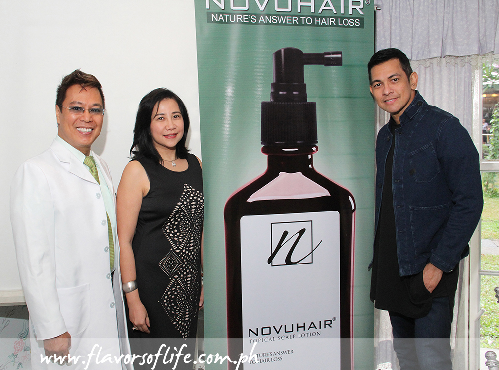 At the launch, from left: wellness and integrative medicine specialist Dr. Edwin Bien, Nutramedica CEO Sheila Mae Velilla, and Novuhair celebrity endorser Gary Valenciano