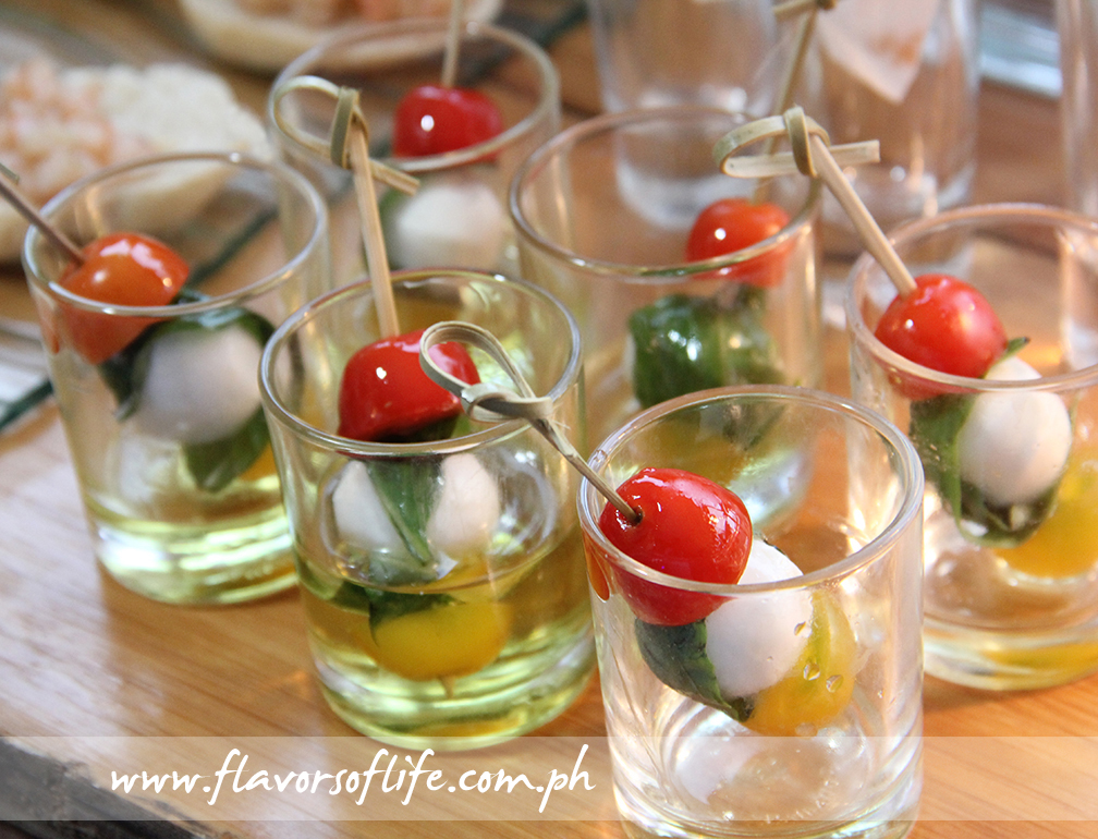 Caprese in shot glasses