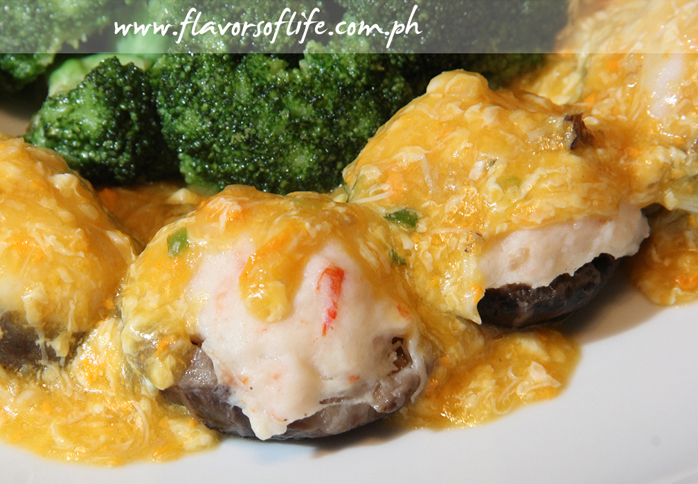 Steamed Stuffed Mushrooms with Shrimp Mousse an Crab Coral Sauce