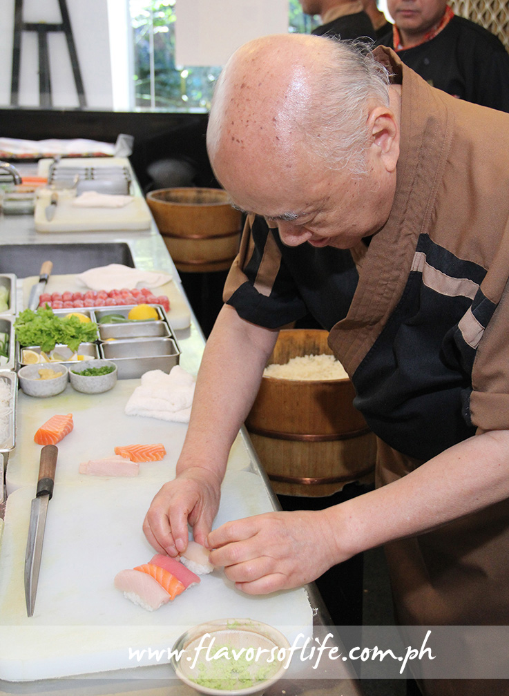 Ogetsu Hime's Japanese Master Chef Isao Takada showing everyone how to make sushi