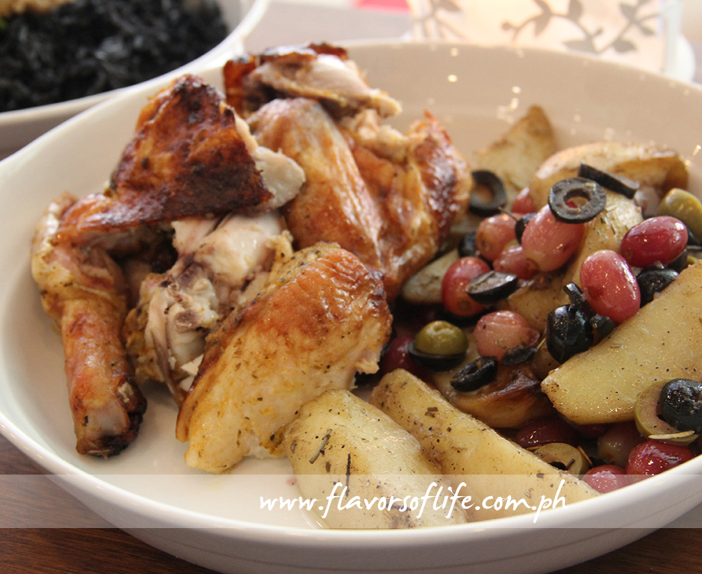 T&S Roasted Chicken with Chorizo and Olives is garlic, lemon and rosemary infused chicken baked with chorizo, olives and potatoes