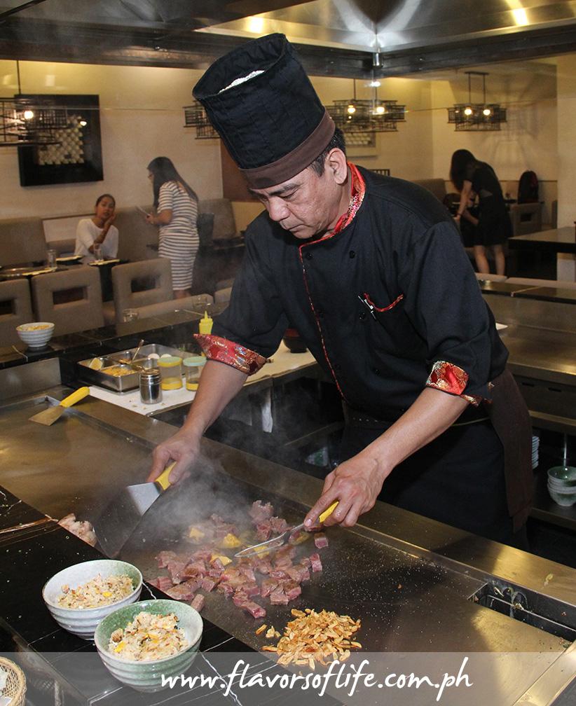 Chef Wilfredo Taruc of Ogetsu Hime cooking Beef Teppanyaki using Matsusaka A5 Beef
