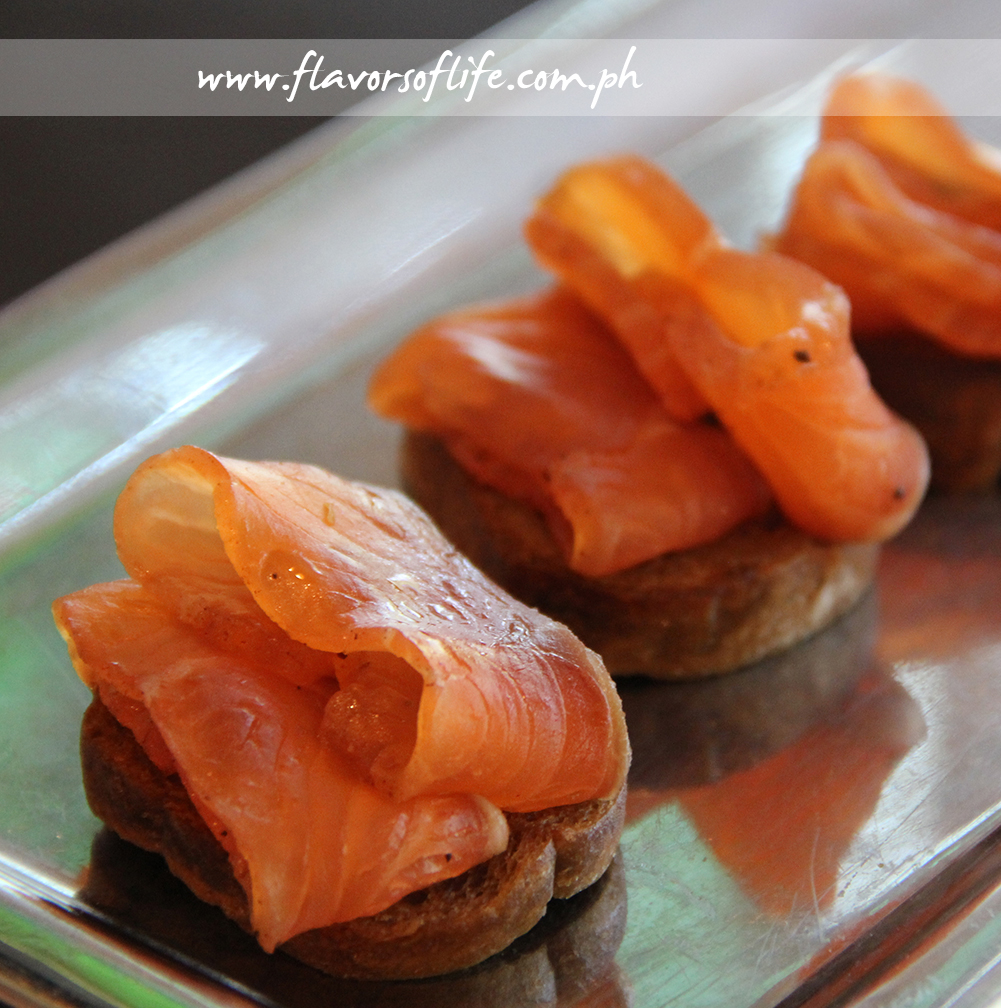 Salmon Gravlax with Juniper Berries, Black Pepper and Star Anise as finger food