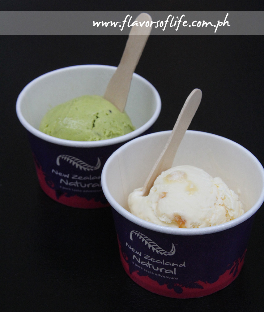 New Zealand Natural Ice Cream in Go Green and Honey Pokey flavors