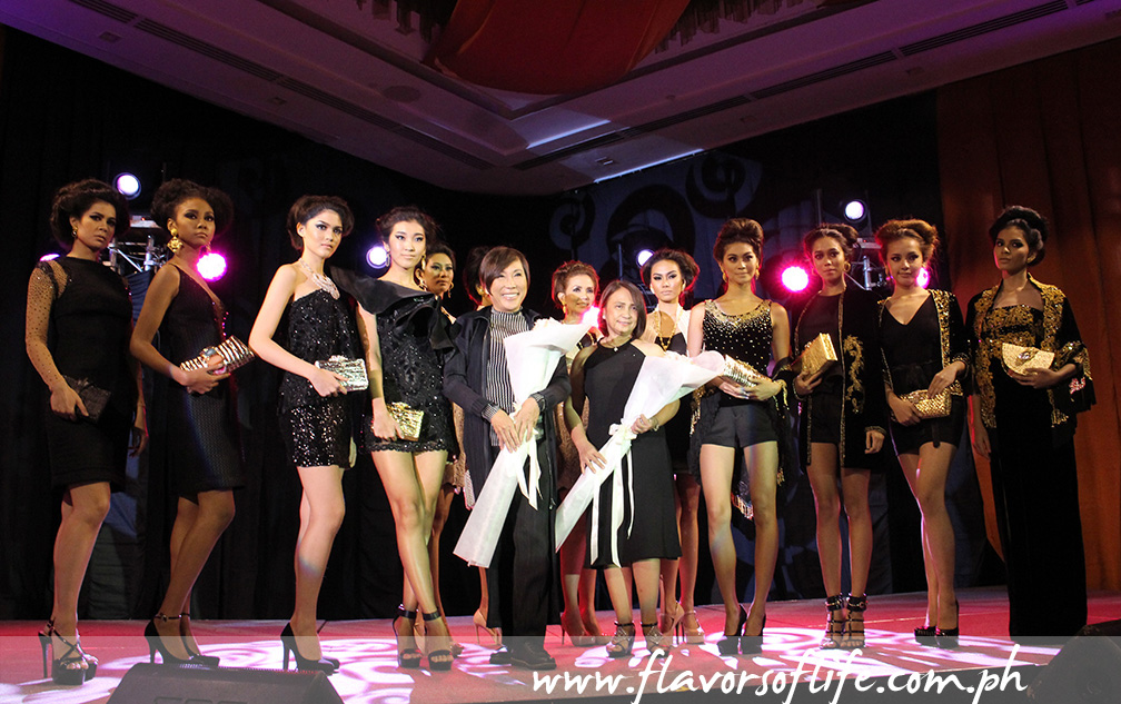 Renee Salud, with his models, taking a bow