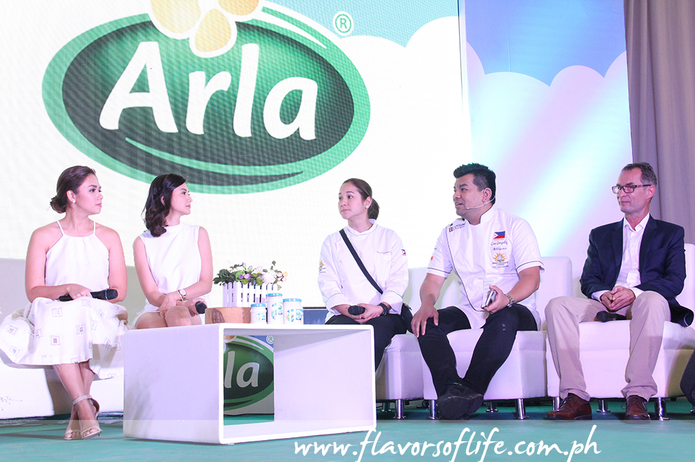 Danica Sotto-Pingris, Rica Peralejo-Bonifacio, Chef Gino Gonzalez and Chef China Cojuangco-Gonzalez on spotlight with Jens Christian Krogh Nielsen, Arla Foods senior general manager for the Philippines, Thailand and Vietnam