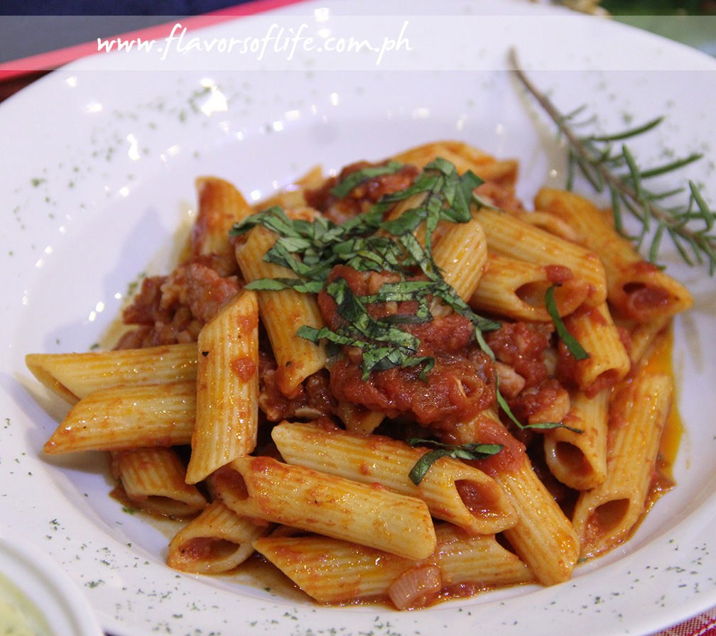 Pasto's Arrabiata is penne pasta with smoked bacon in a mildly spiced tomato sauce