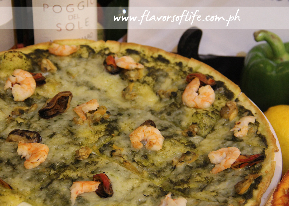 Pasto's Bianca Pasta has a pesto base and assorted seafood toppings