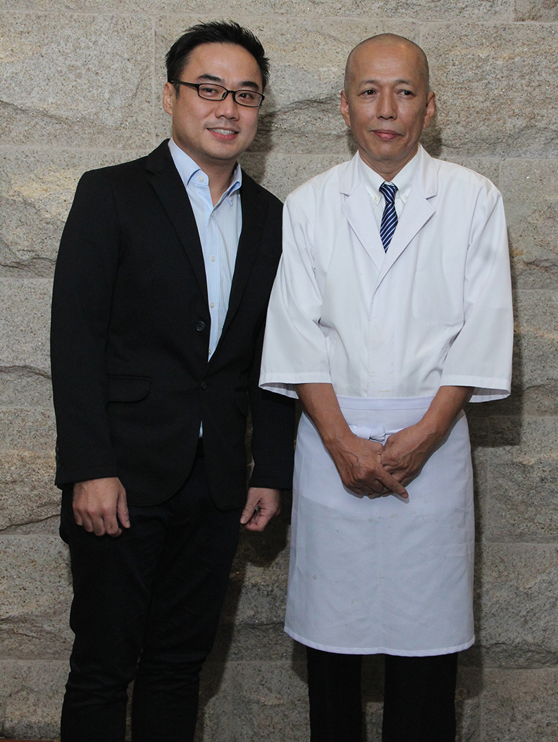iFoods' president and CEO Bryan Tiu with Wafu's new executive chef Onishi Nobuyoshi