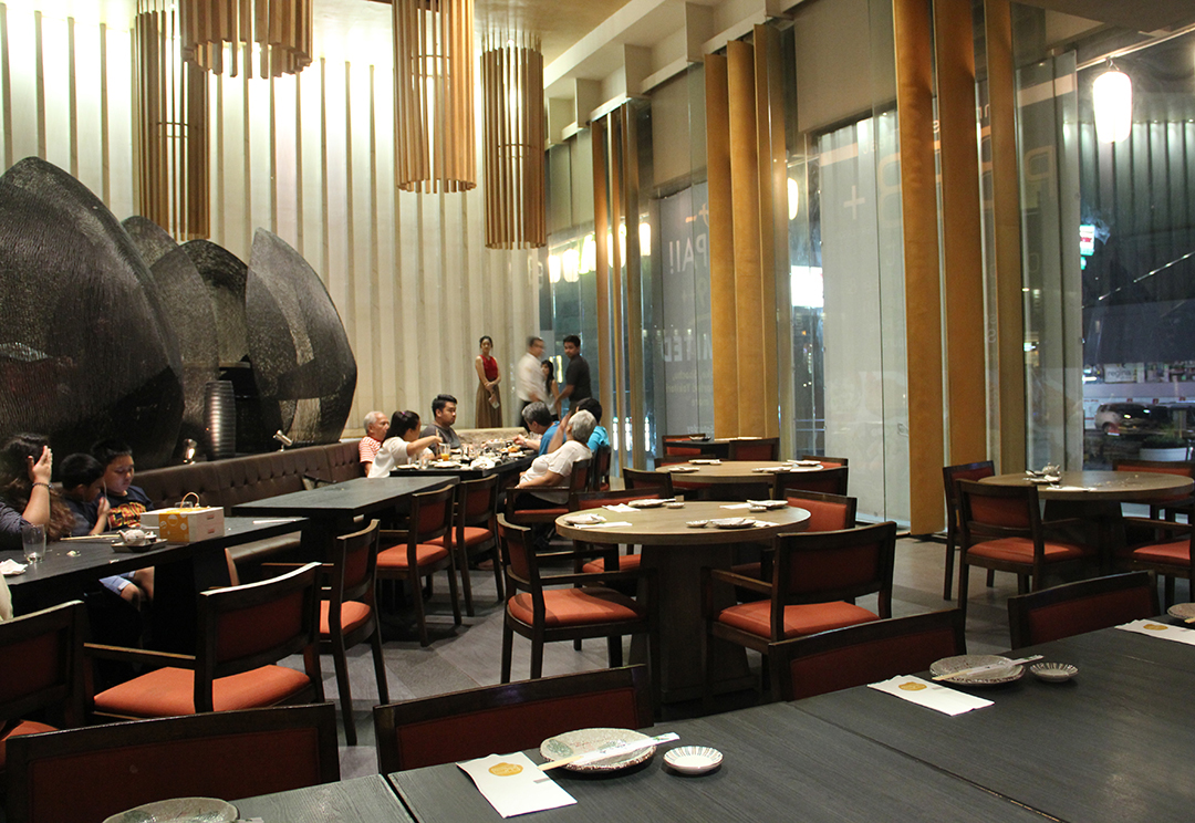 Wafu's main dining area on the ground floor of the two-storey building it occupies