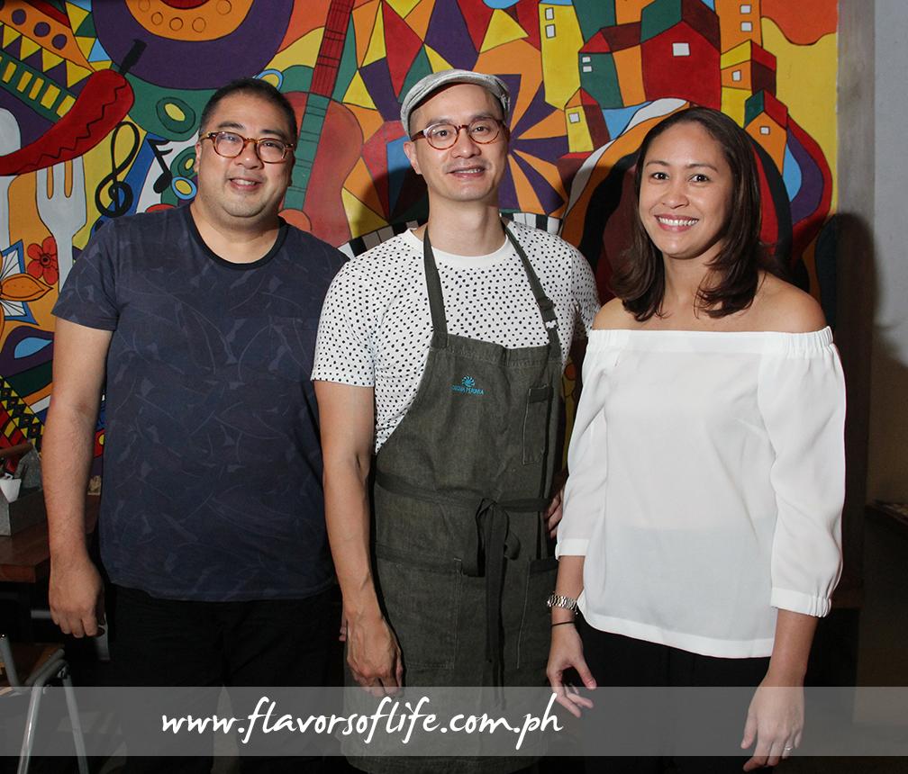 Food blogger JJ Yulo with Chef Him Uy de Baron and Gostoso co-ownr Tatiana Olandres