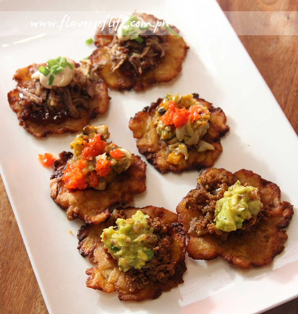 Tostones, from top: Beef, Vegetable, and