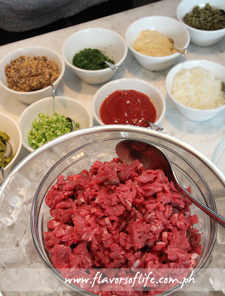 Choose the herbs, spices and condiments that you want to go into your Beef Tartare
