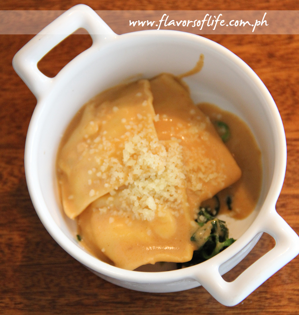 Lobster Ravioli with Shellfish Cream and Baby Spinach