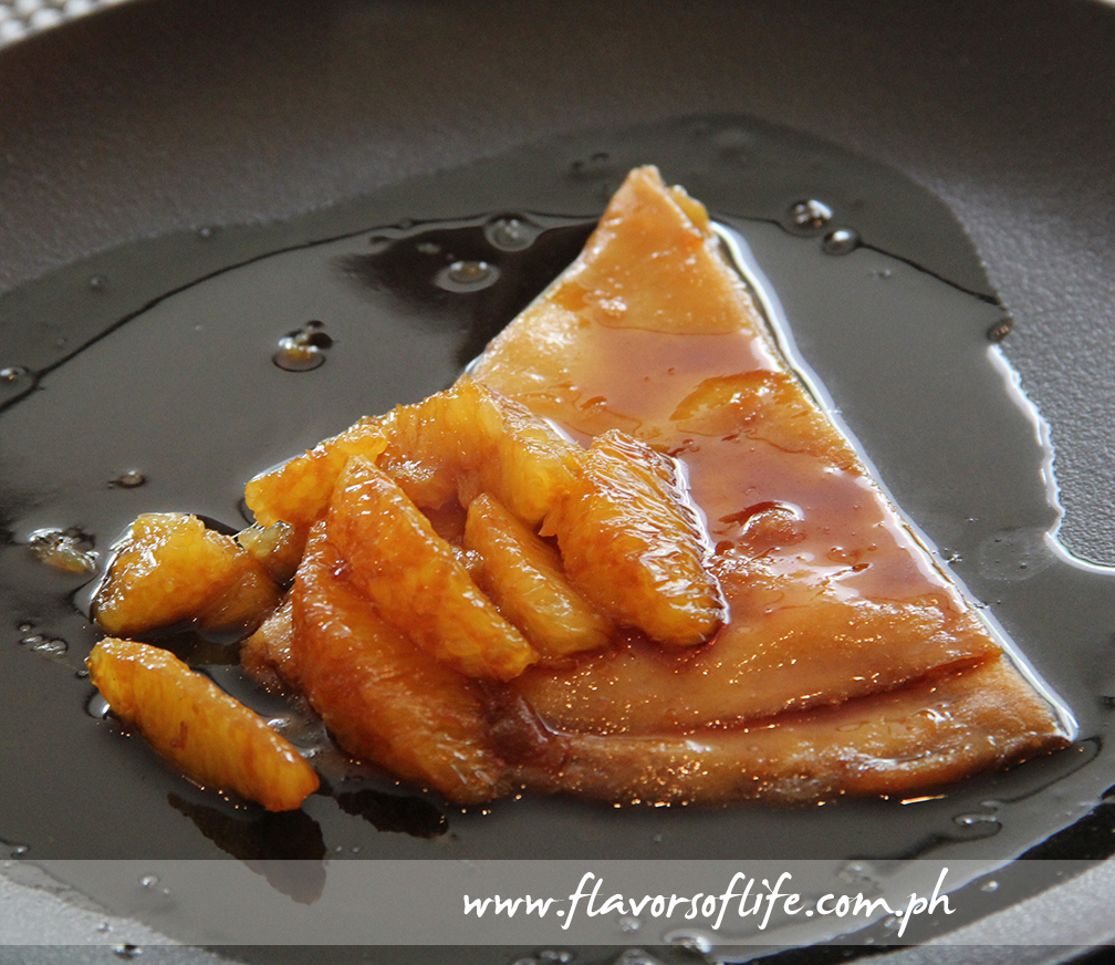 The delicious Mango Crepe Flambe