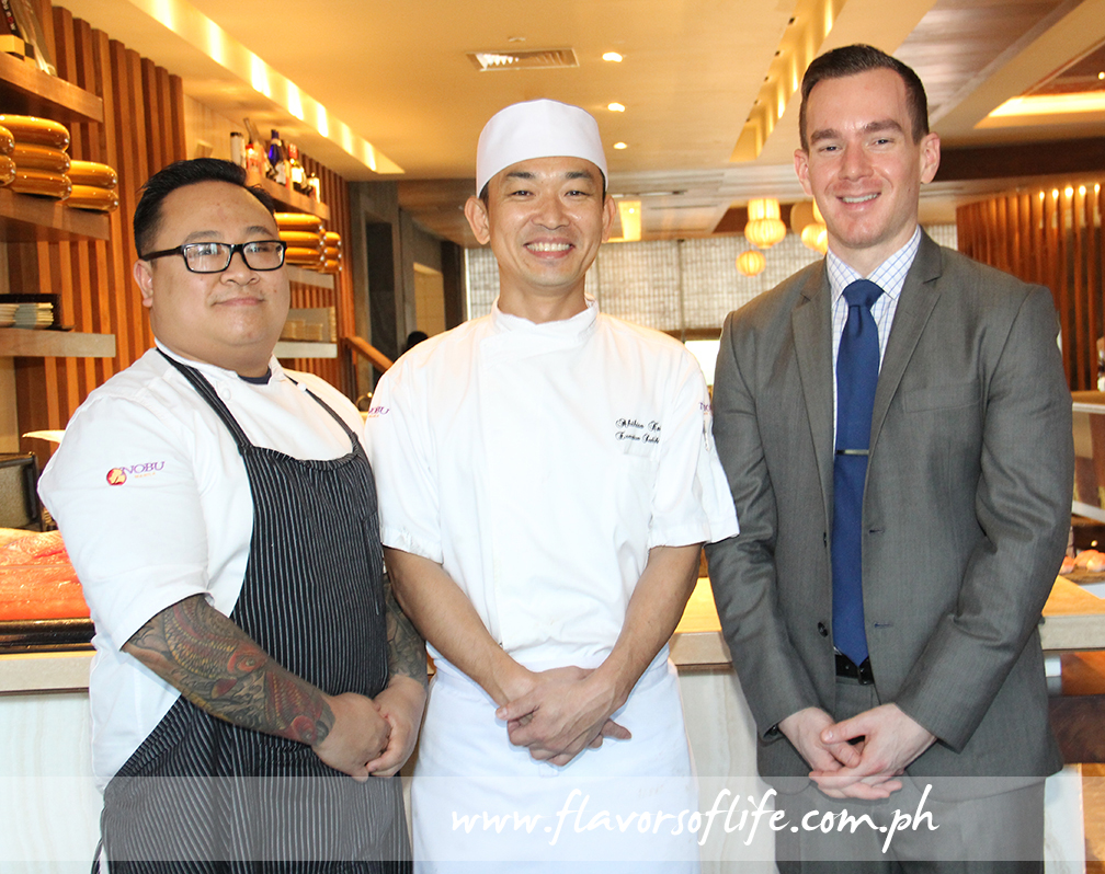 Nobu Manila head chef Michael de Jesus, executive sushi chef Akihisa Kawai, and restaurant manager Kenny Hernandez