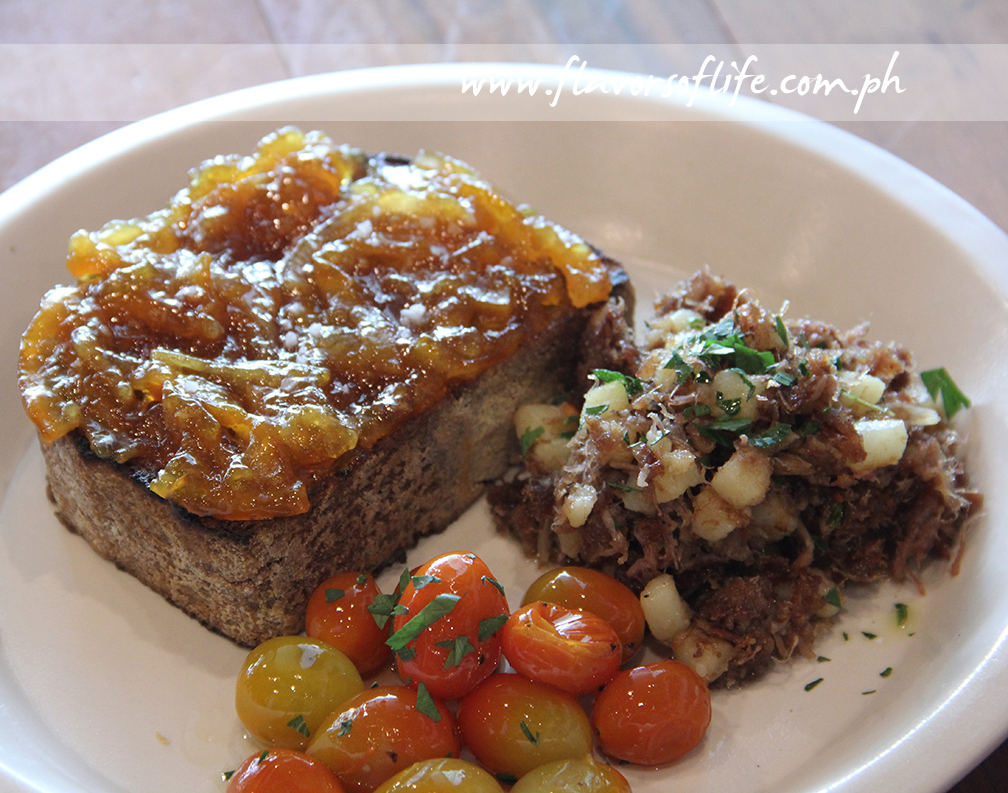 Toast with Marmalade, Duck Hash and Grape Tomatoes