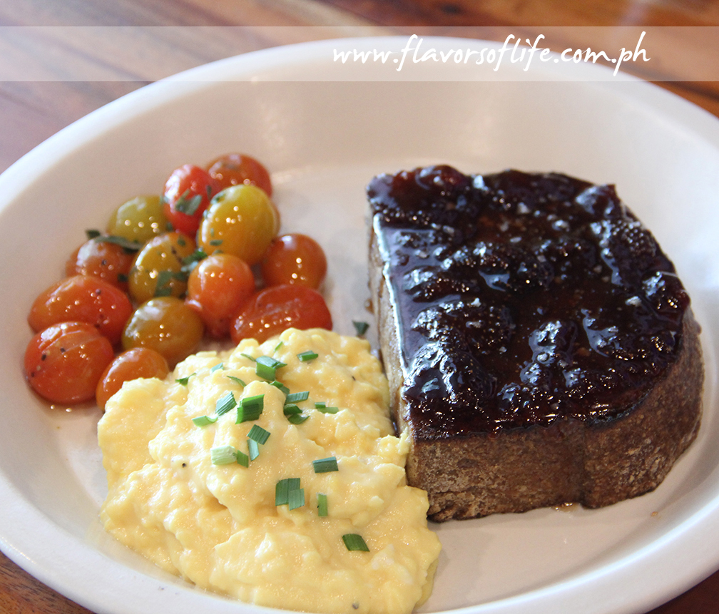 Toast with Strawberry Jam, Eggs and Grape Tomatoes