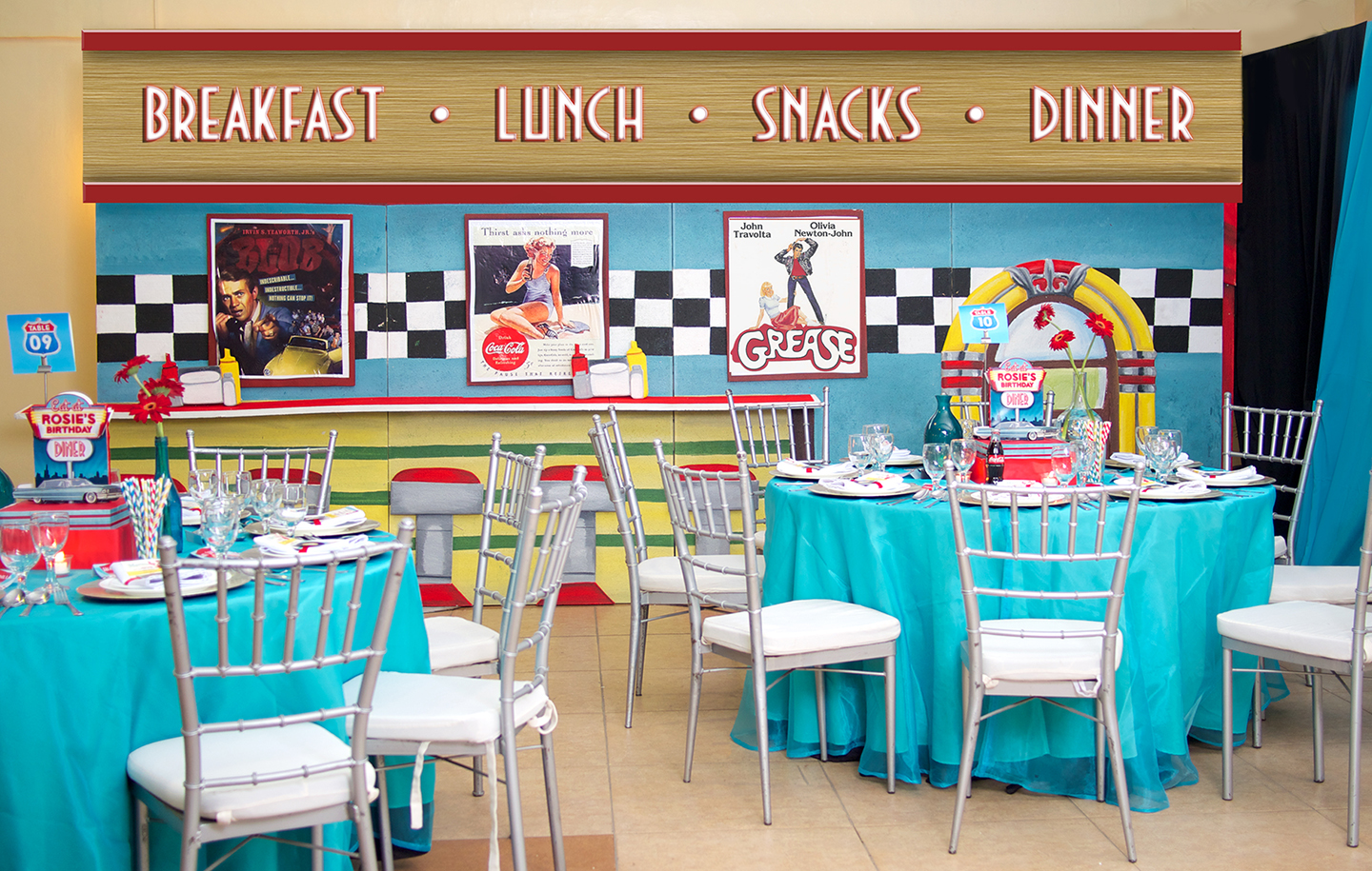 '50s Diner themed party setup
