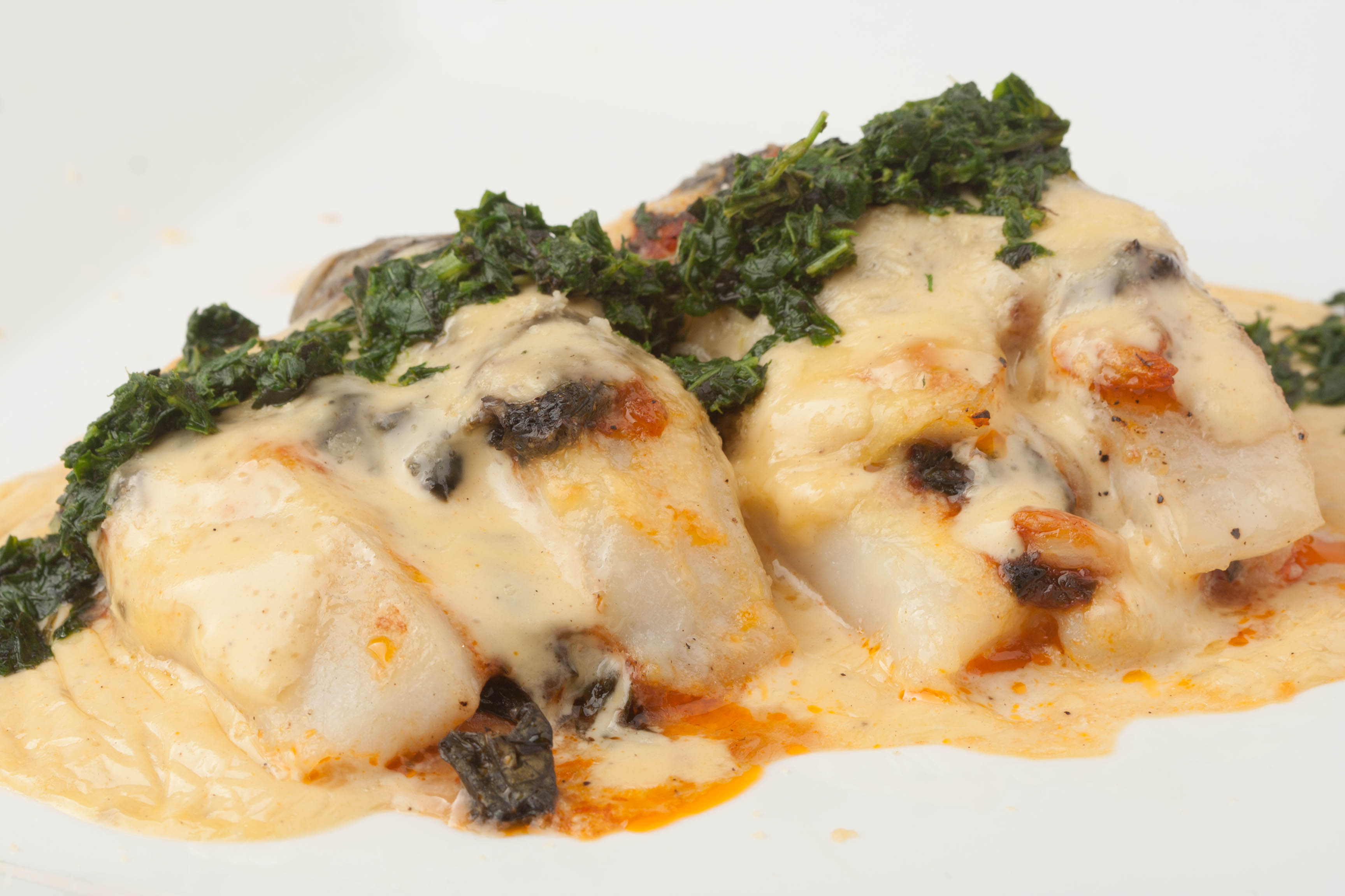 Baked Fish Stuffed with Spinach and