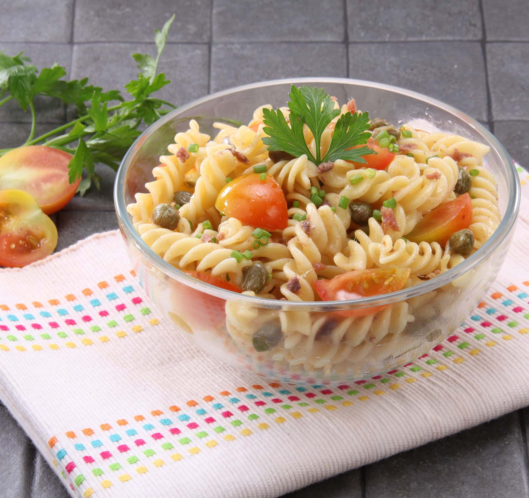 Fusilli with Anchovy Caper Sauce