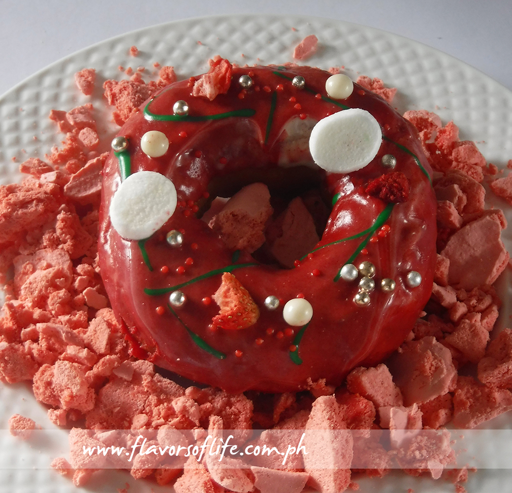 The strawberry doughnut by Chef Kristine Lotilla demonstrates how much longer the shelf life of fruity desserts are when stored in the Samsung Twin Cooling Refrigerator