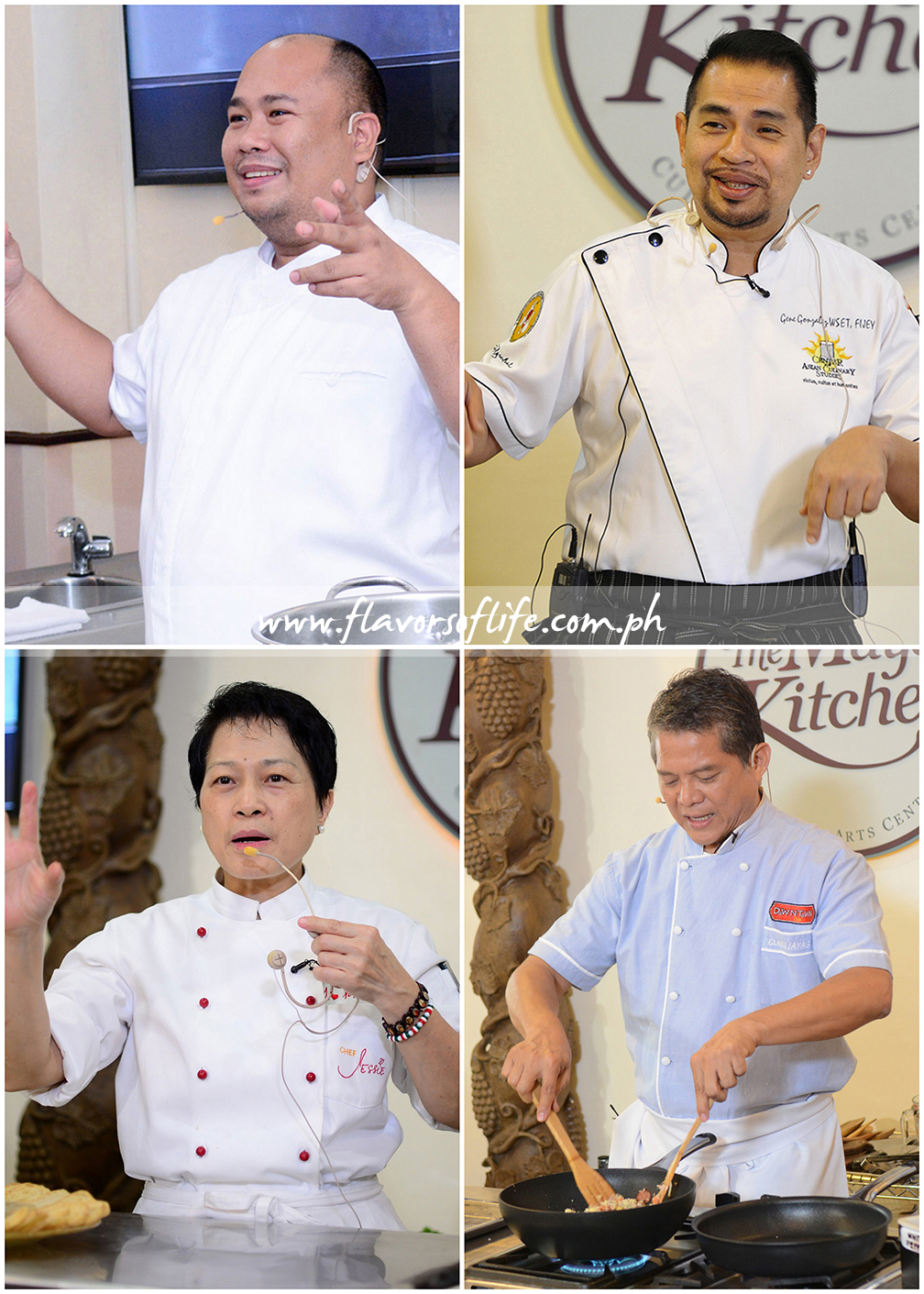 Celebrity chefs featured in Maya Kitchen's Culinary Elite Series, clockwise from top left: Chef Myke 'Tatung' Sarthou, Chef Gene Gonzalez, Chef Claude Tayag and Chef Jessie Sincioco