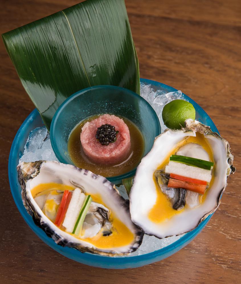 Nobu Manila's Toro Tartar, Ossetra Caviar, Wasabi Soy Kumamoto and New York Salsa