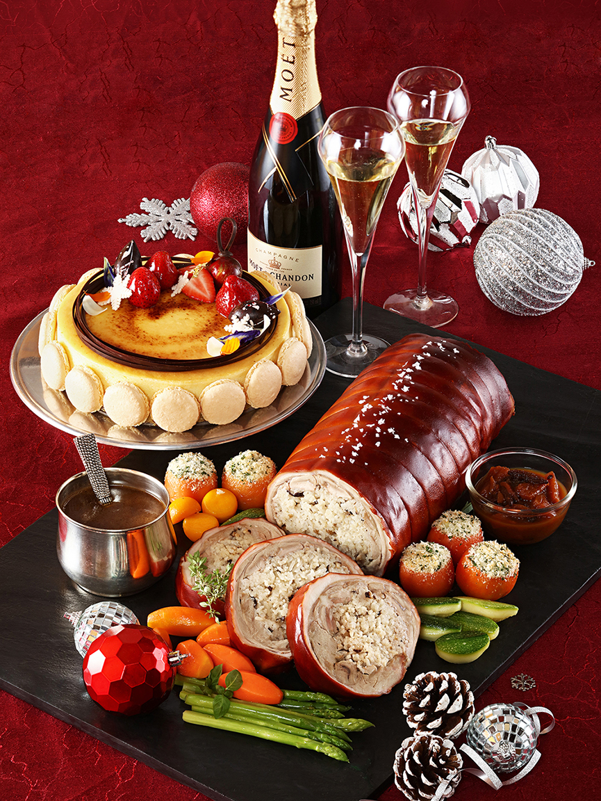 Diamond Hotel Philippines' Christmas treats: Porchetta with Truffle Rice, paired with Baked Cheesecake