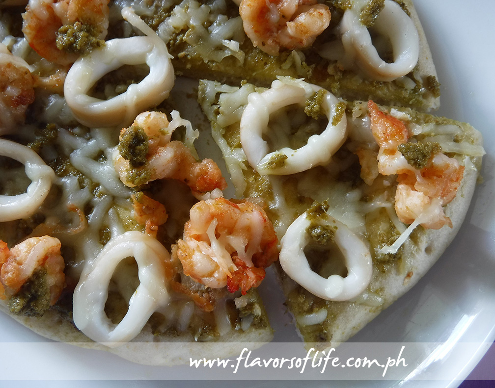 Seafood Pizza with Pesto Sauce