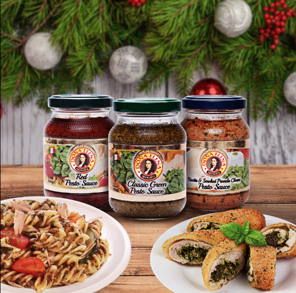 Doña Elena Pesto Sauce in three variants, from left: Red Pesto Sauce, Classic Green Pesto Sauce, and Ricotta & Smoked Provola Cheese Pesto Sauce