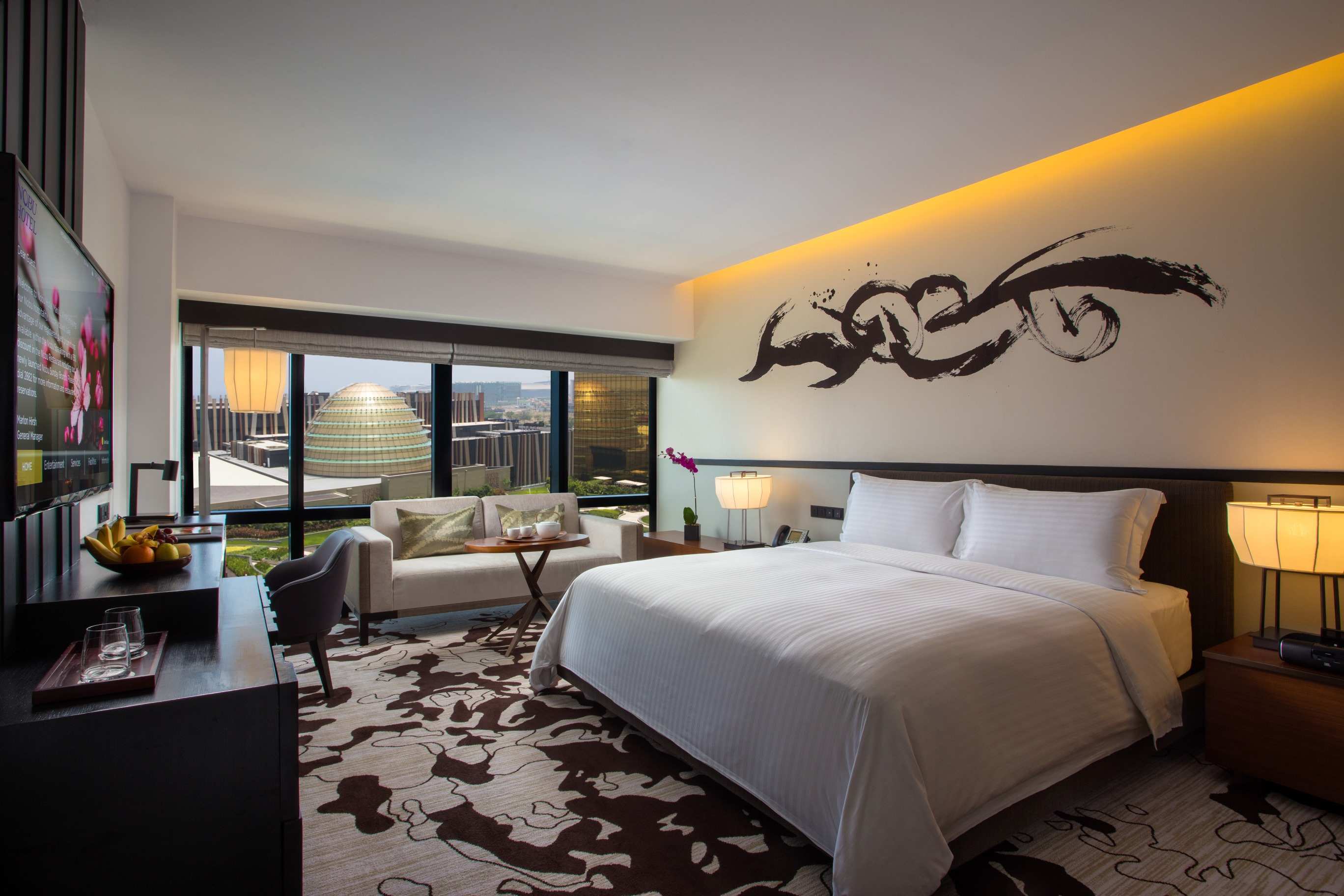 Nobu Hotel Manila's deluxe room with king size bed
