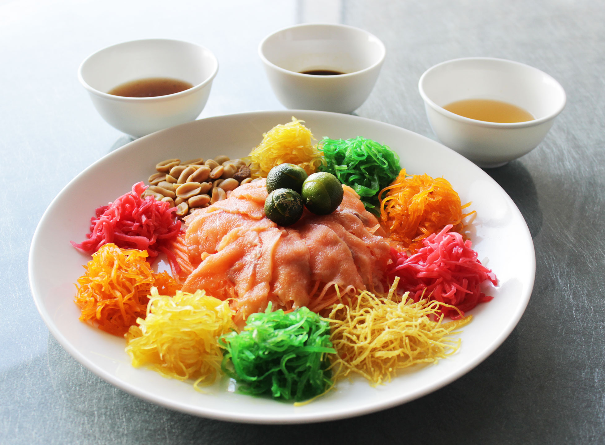 Salmon Yu Sheng Salad for an auspicious Prosperity Toss on Chinese New Year