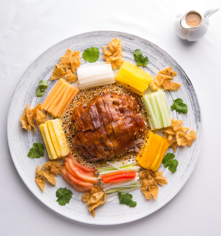 Shredded Roasted Duck with Fresh Fruit Salad in Sesame Dressing