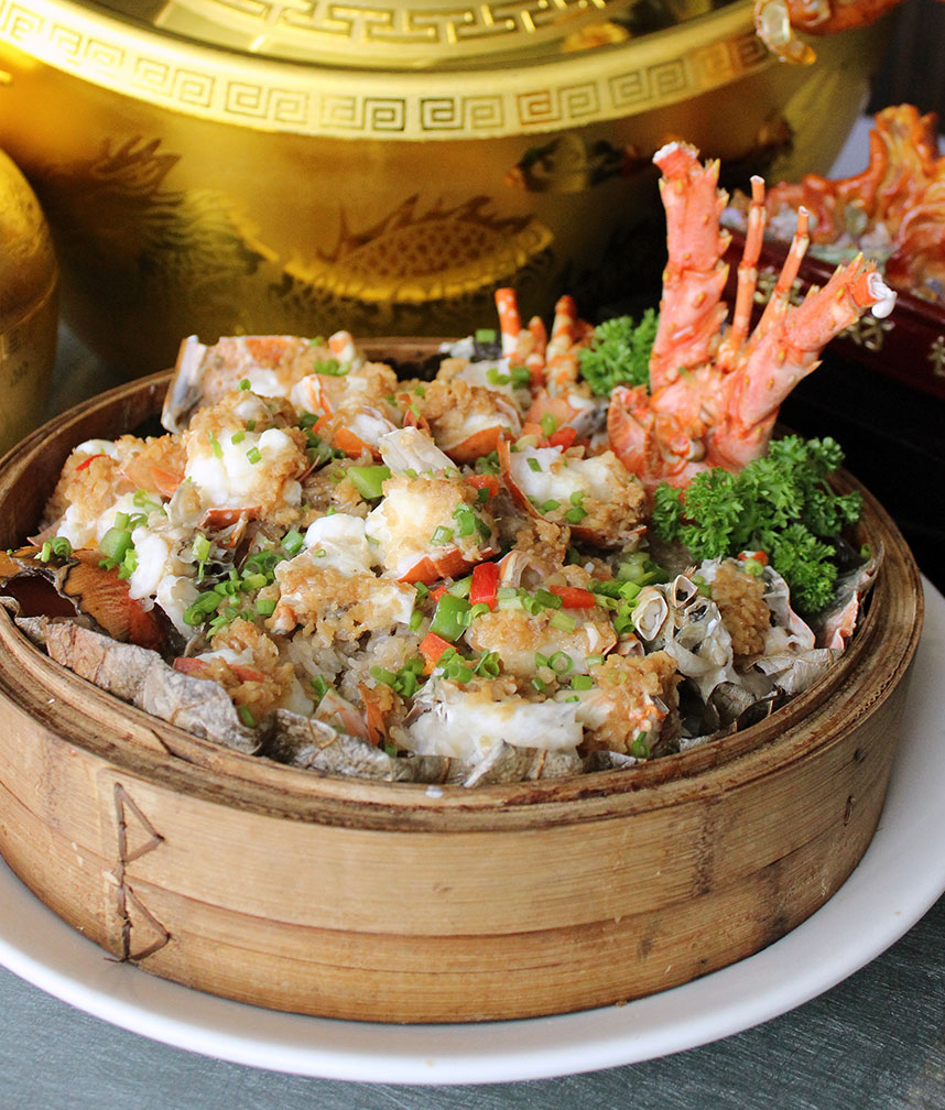 Steamed Fresh Lobster with Glutinous Rice in Bamboo Basket