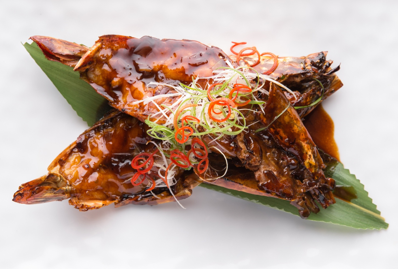 Wok-fried King Prawns with Supreme Soy Sauce Reduction
