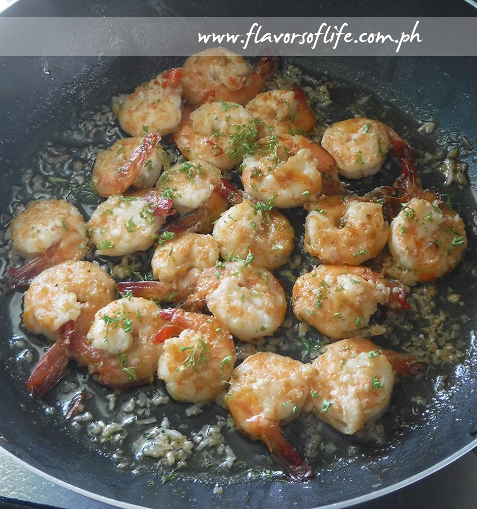 Buttery Garlic Prawns, an Anchor recipe which I cooked