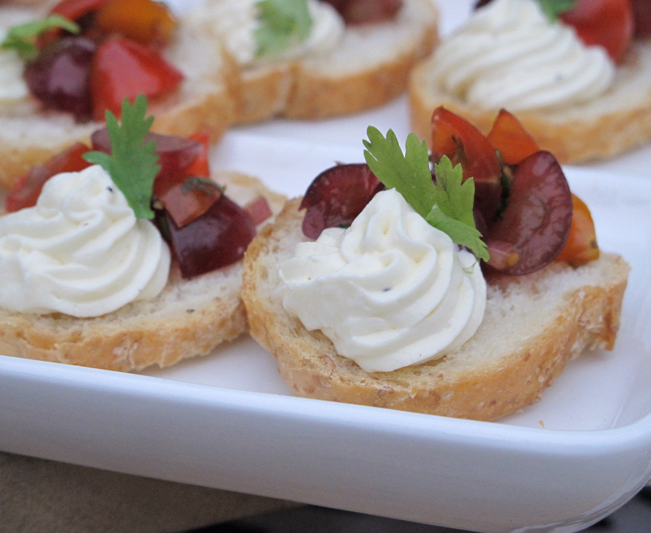 Grape Salsa with Goat Cheese Crostini using Welch's 100% Grape Juice