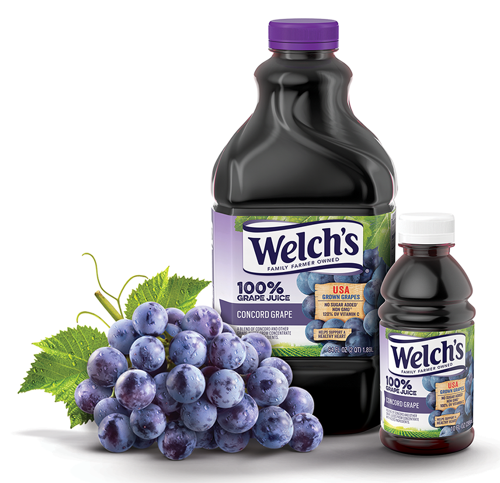 Welch's 100% Grape Juice, made from dark purple Concord grapes, comes in 1.89L and 295ml. bottles