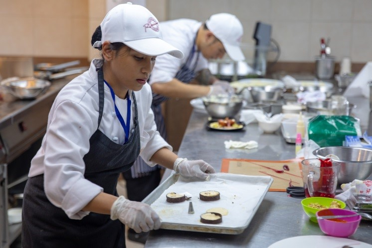 Lyceum of the Philippines University incorporating U.S. Almonds in a dessert